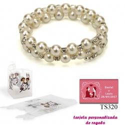 Pulsera doble de perlas blancas con brillantes