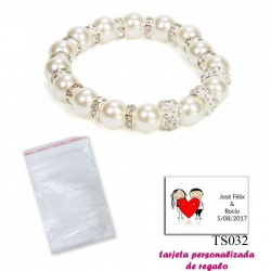 Pulsera de perlas blancas con aros de brillantes