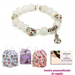 Pulsera de perlas blancas con brillantes de colores y saco de dólar