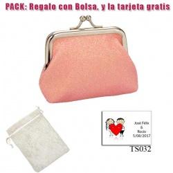 Monedero rosa brillante con hebilla, ideal para tus invitadas de boda