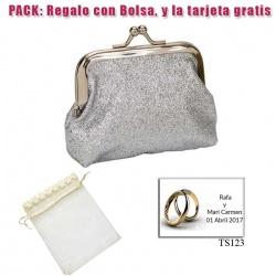Monedero color plata brillante con hebilla, ideal para tus invitadas de boda
