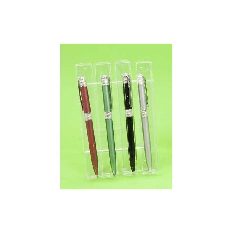 Bolígrafos colores franja plateada surtidos en caja acetato (precio unidad)