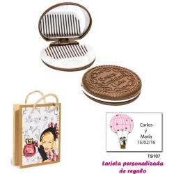 Espejo Galleta Oreo con peine blanco y con dibujos de mujer, perfume y belleza, y tarjeta personalizada