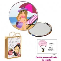 Espejo de Chapa con chica en la Playa, con dibujos de mujer, perfume y belleza, y tarjeta personalizada