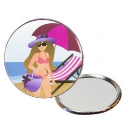 Espejo chapa playa sombrilla rosa