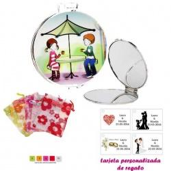 Espejo con sombrilla y niños, con bolsa de organza con motivos florales multicolor, y tarjeta personalizada