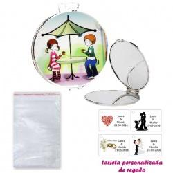 Espejo con sombrilla y niños, con bolsa básica de celofan, y tarjeta personalizada