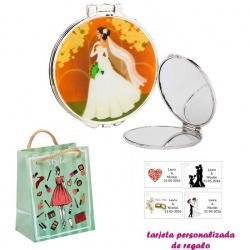 Espejo con una elegante novia con velo, con dibujos de mujer, moda y belleza, y tarjeta personalizada