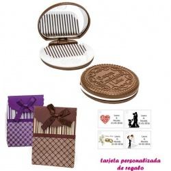 Espejo Galleta Oreo con peine blanco y con caja de rayas con lazo y tarjeta personalizada