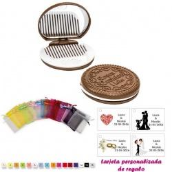 Espejo Galleta Oreo con peine blanco y con bolsa de organza multicolor, y tarjeta personalizada