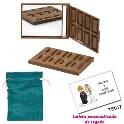 Espejo Tableta de Chocolate, con bolsa de saco azul y tarjeta personalizada