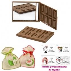 Espejo Tableta de Chocolate, con bolsa de saco en crudo y detalles de colores, y tarjeta personalizada