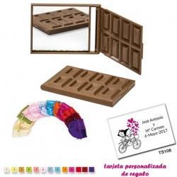 Espejo Tableta de Chocolate, con bolsa de raso multicolor, y tarjeta personalizada