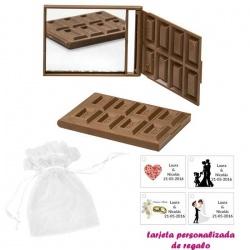 Espejo Tableta de Chocolate, con bolsa blanca de organza, y tarjeta personalizada