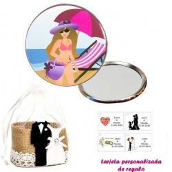 Espejo de Chapa con chica en la Playa, con bolsa de yute y tarjeta personalizada