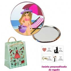 Espejo de Chapa con chica en la Playa, con dibujos de mujer, moda y belleza, y tarjeta personalizada