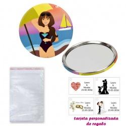 Espejo de Chapa con chica en la Playa, con bolsa básica de celofan, y tarjeta personalizada