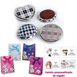 Espejos plateados con cuadros escoceses, con caja de flores y tarjeta personalizada