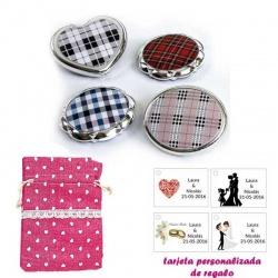 Espejos plateados con cuadros escoceses, con bolsa de saco rosa estampada y tarjeta personalizada