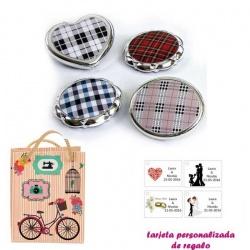 Espejos plateados con cuadros escoceses, con dibujos decorativos y con bicicleta, y tarjeta personalizada