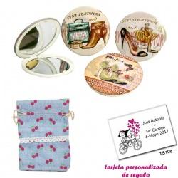Espejos vintage con zapatos de tacón y bonitos dibujos, con bolsa de saco rosa celeste estampada y tarjeta personalizada