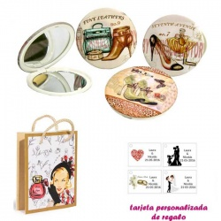 Espejos vintage con zapatos de tacón y bonitos dibujos, con dibujos de mujer, perfume y belleza, y tarjeta personalizada