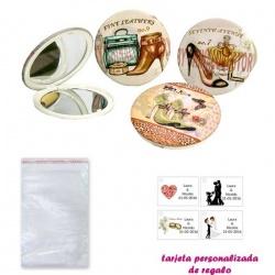 Espejos vintage con zapatos de tacón y bonitos dibujos, con bolsa básica de celofan, y tarjeta personalizada