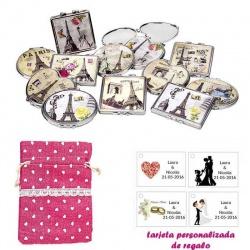 Espejos vintage con motivos de ciudades, con bolsa de saco rosa estampada y tarjeta personalizada