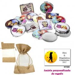 Espejos coloridos con búhos, de diferentes formas, con bolsa de saco marrón y tull, y tarjeta personalizada