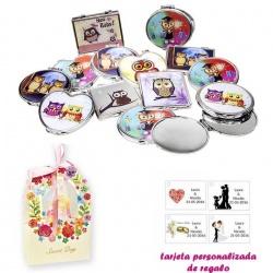 Espejos coloridos con búhos, de diferentes formas, con caja de flores, y tarjeta personalizada