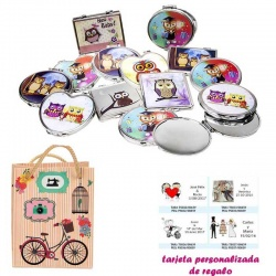 Espejos coloridos con búhos, de diferentes formas, con dibujos decorativos y con bicicleta, y tarjeta personalizada
