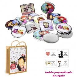 Espejos coloridos con búhos, de diferentes formas, con dibujos de mujer, perfume y belleza, y tarjeta personalizada