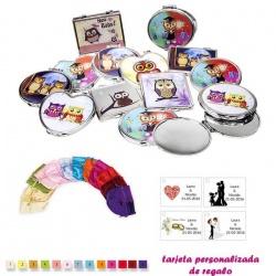 Espejos coloridos con búhos, de diferentes formas, con bolsa de raso multicolor, y tarjeta personalizada