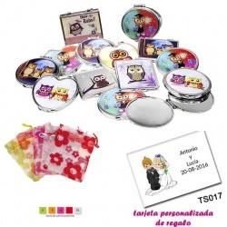 Espejos coloridos con búhos, de diferentes formas, con bolsa de organza con motivos florales multicolor, y tarjeta personalizada