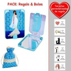 Gran espejo azul con dibujo de novia, y un práctico peine dentro