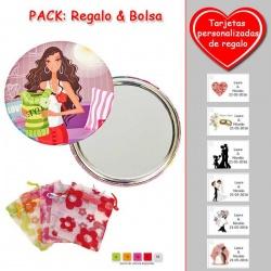 Espejo de chapa barato con dibujo de mujer, en colores rosas, verdes y rojos