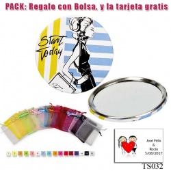 Espejo de chapa barato con dibujo de mujer, con rayas azules y amarillas