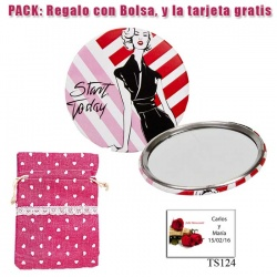 Espejo de chapa barato con dibujo de mujer, con rayas rosas y rojas
