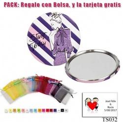 Espejo de chapa barato con dibujo de mujer, con rayas moradas
