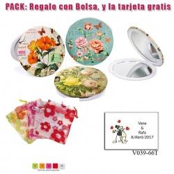 Espejo con bonitos dibujos surtidos de flores de muchos colores