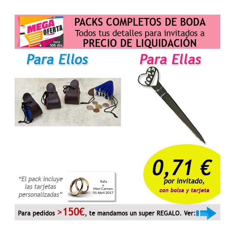 """Pack completo """"Super Ahorro"""" de regalos para invitados (hombres y mujeres), con bolsas y tarjetas"""