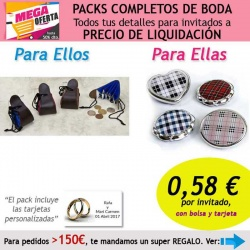 """Pack completo """"Super-Ahorro"""" de regalos para invitados (hombres y mujeres), con bolsas y tarjetas"""