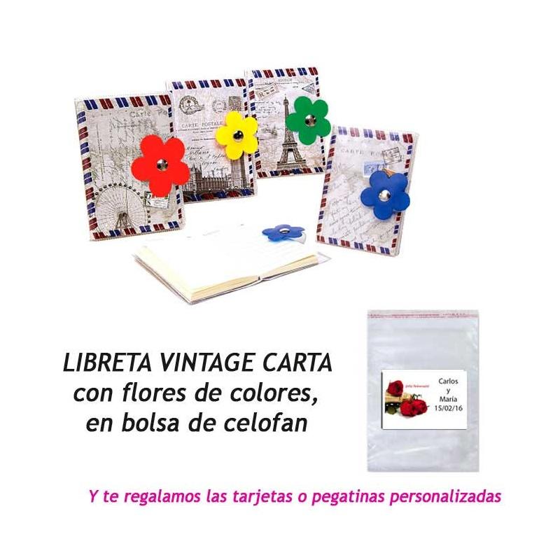 """Libreta """"Carta"""" con flor,  regalo de Boda en Outlet"""