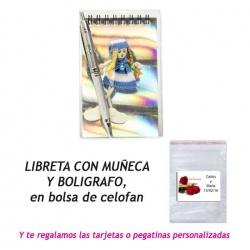 Libreta con bolígrafo y muñeca,  regalo de Boda en Outlet