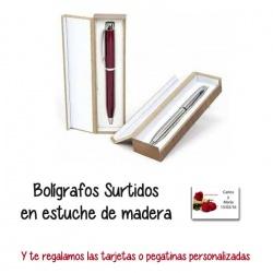 Elegante bolígrafo en estuche de madera,  regalo de Boda en Outlet