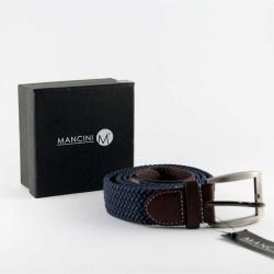 Cinturón para hombre en color azul con detalles en piel marrón