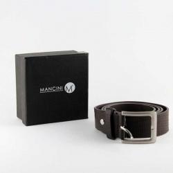 Cinturón para hombre en polipiel color marrón chocolate, con elegante caja negra