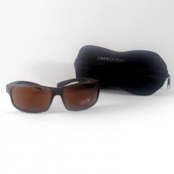 Gafas de sol deportivas, en marrón con funda flexible negra