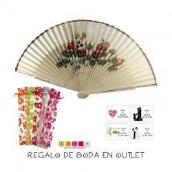 Pack de abanico beige con flores y filo dorado, con bolsa y tarjeta
