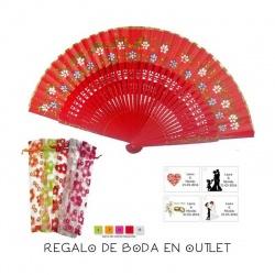 Pack de abanico rojo con flores y filo dorado, con bolsa y tarjeta